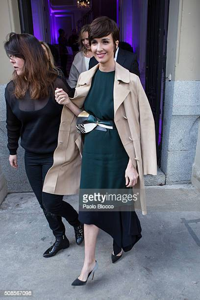 Spanish actress Paz Vega is seen on February 5 2016 in Madrid Spain