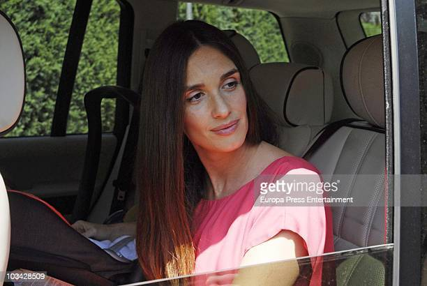 Spanish actress Paz Vega leaves hospital with her newborn child Lenon on August 18 2010 in Madrid Spain Lenon Salazar Vega was born on August 13 and...