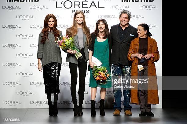 Spanish actress Paz Vega model Beatriz Saladich designer Teresa Helbig Boris Izaguirre and Cuca Solana attend the L'Oreal Awards 2012 during...