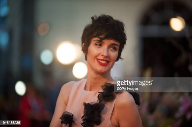 Spanish actress Paz Vega poses on the red carpet outside of the Cervantes Theatre during the 21th International Malaga Film Festival in Malaga