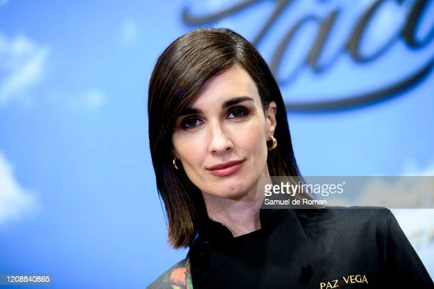 Spanish actress Paz Vega presents her designs for Zacapa Ron at ARCO Fair at Ifema on February 26, 2020 in Madrid, Spain.