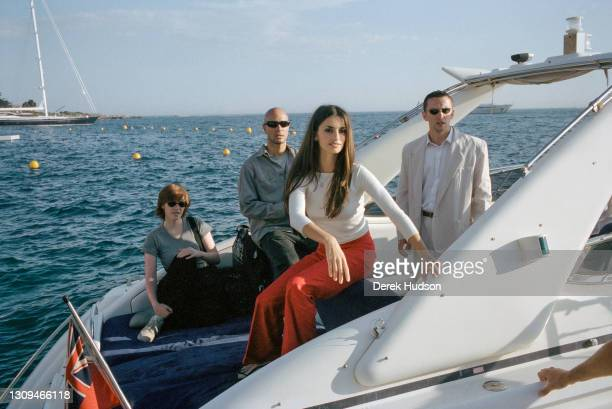 Spanish actress Penelope Cruz aboard a power boat at the Hotel du Cap Eden Roc, Antibes .