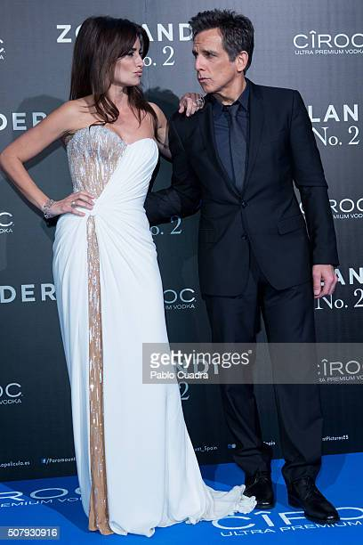 Spanish actress Penelope Cruz and actor Ben Stiller attend the 'Zoolander No2' premiere at the Capitol Cinema on February 1 2016 in Madrid2 Spain