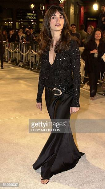 Spanish actress Penelope Cruz arrives at the premiere of her new film Blow in Hollywood Los Angeles CA 29 March 2001 Cruz plays the Colombian wife of...