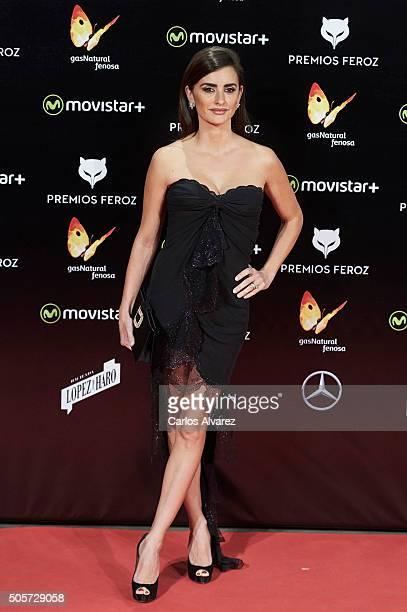 Spanish actress Penelope Cruz attends the Feroz Awards 2016 red carpet at the Gran Teatro Principe Pio on January 19 2016 in Madrid Spain