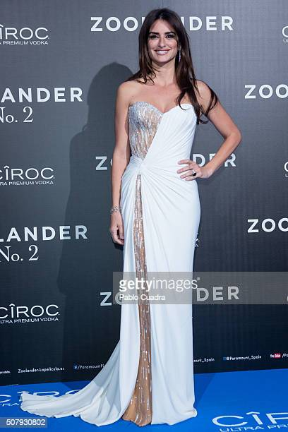Spanish actress Penelope Cruz attends the 'Zoolander No2' premiere at the Capitol Cinema on February 1 2016 in Madrid Spain