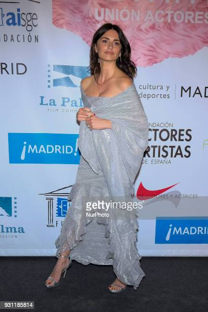 Spanish actress Penelope Cruz poses as she arrives for the 27th Actors and Actresses Union Awards at the Circo Price Theater in Madrid Spain 12 March...