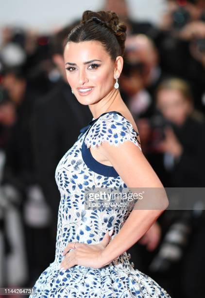 Spanish actress Penelope Cruz poses as she arrives for the screening of the film Dolor Y Gloria at the 72nd edition of the Cannes Film Festival in...