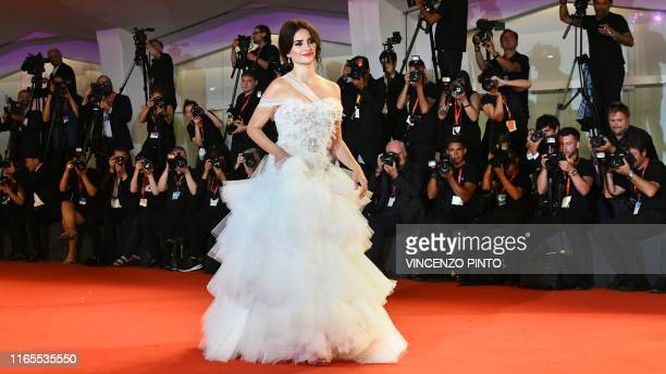 TOPSHOT Spanish actress Penelope Cruz poses as she arrives for the screening of the film Wasp Network on September 1 2019 presented in competition...