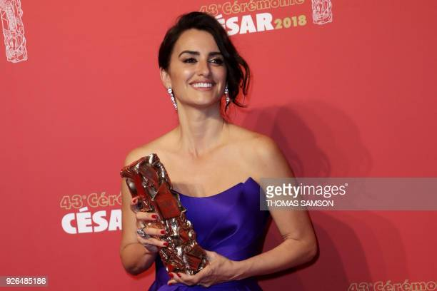 TOPSHOT Spanish actress Penelope Cruz poses with her Honour award trophy during a photocall at the 43rd edition of the Cesar Awards ceremony at the...