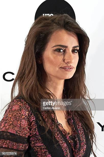 Spanish actress Penelope Cruz presents 'Soy Uno Entre Cien Mil'' documentary at Academia de Cine on January 28 2016 in Madrid Spain
