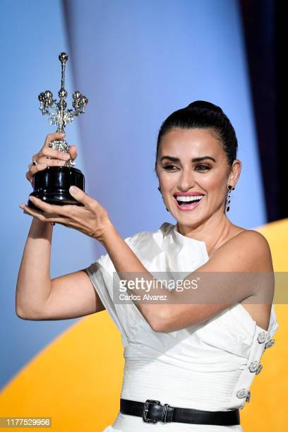 Spanish actress Penelope Cruz receives Donostia award at Kursaal during 67th San Sebastian International Film Festival on September 27, 2019 in San...