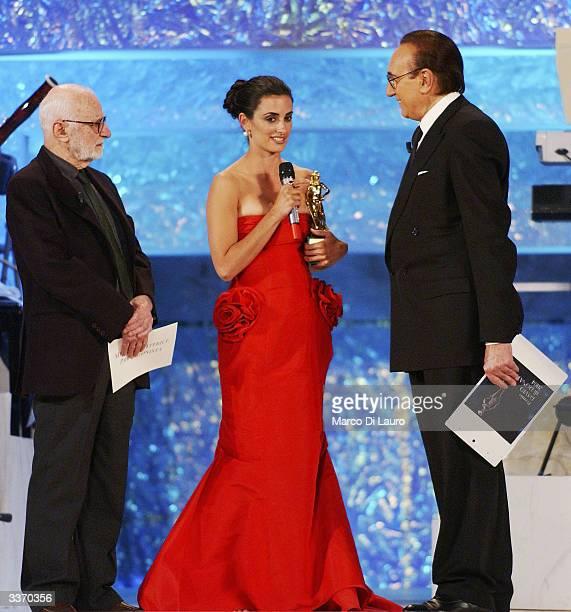 Spanish Actress Penelope Cruz receives her David of Donatello Award from Italian filmaker Mario Monicelli and Italian show men Pippo Baudo at the...