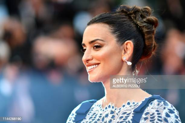 Spanish actress Penelope Cruz smiles as she arrives for the screening of the film Dolor Y Gloria at the 72nd edition of the Cannes Film Festival in...