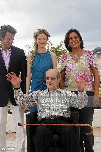 Spanish actress Pilar Lopez Portuguese actress Ana Maria Magalhaes Portuguese actor Ricardo Trepa and Portuguese director Manoel De Oliveira pose...