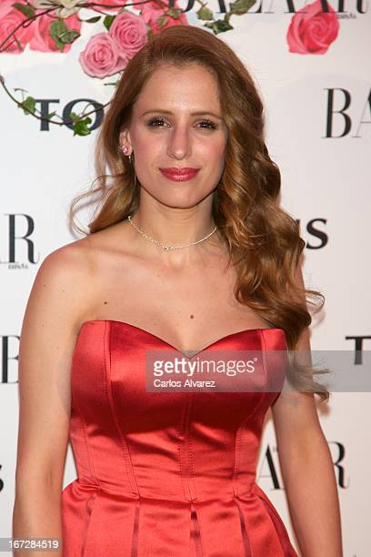 """Spanish actress Sara Ballesteros attends the presentation of the new fragance """"Rosa"""" at the Ritz Hotel on April 23, 2013 in Madrid, Spain."""