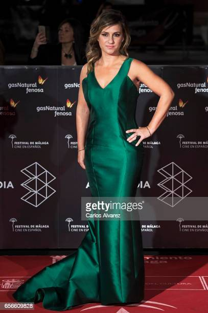 Spanish actress Sara Castro attends the 'Verano 1993' premiere at the Cervantes Teather on day 6 of the 20th Malaga Film Festival on March 22 2017 in...