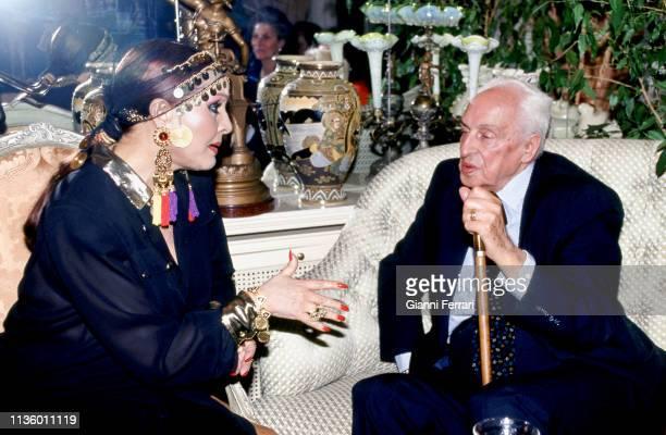 Spanish actress Sara Montiel and Nobel Prize-winning Spanish-American biochemist Severo Ochoa , Madrid, Spain, 1991.
