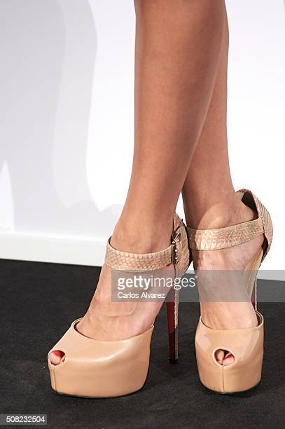 Spanish actress shoes detail Elisa Mouliaa attends Hugo Boss 'Man Of Today' presentation at the NH Eurobuilding Hotel on February 3 2016 in Madrid...