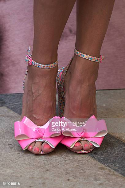 Spanish actress shoes detail Macarena Gomez attends Pieles photocall at the Only You Hotel on July 1 2016 in Madrid Spain