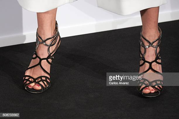 Spanish actress shoes detail Maggie Civantos attends Hugo Boss Man Of Today presentation at the NH Eurobuilding Hotel on February 3 2016 in Madrid...