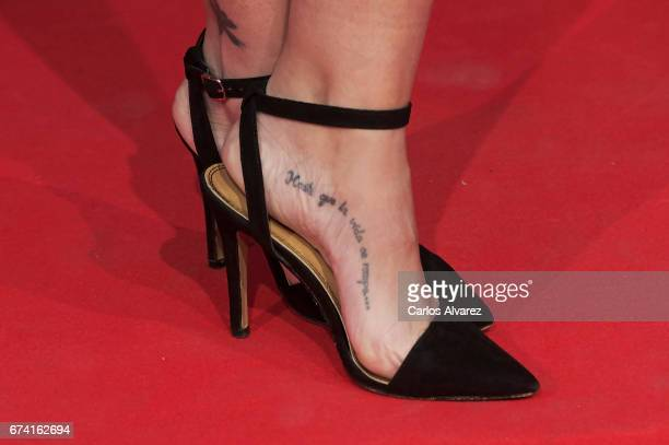 Spanish actress shoes detail Nerea Garmendia attends 'Las Chicas Del Cable' premiere at the Callao cinema on April 27 2017 in Madrid Spain