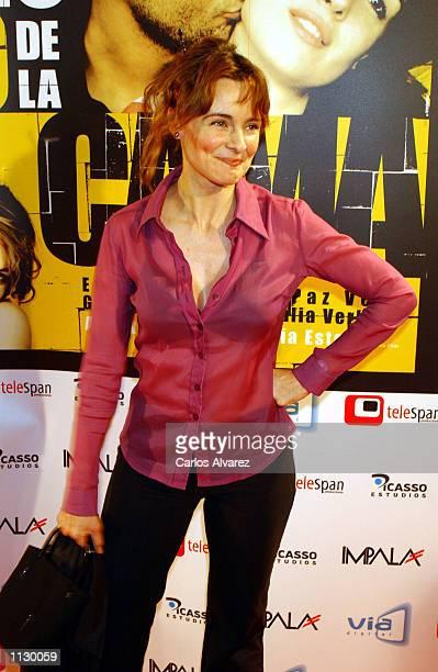 Spanish actress Silvia Marso attends the premier Al otro lado de la cama at Callao Cinema July 3 2002 in Madrid Spain