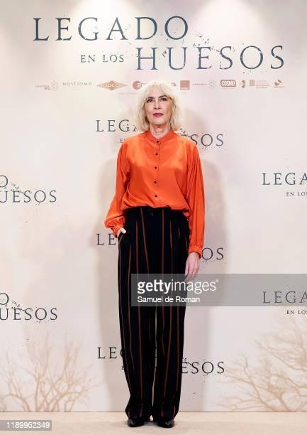 Spanish actress Susi Sanchez attends Legado En los Huesos Madrid Photocall on November 25 2019 in Madrid Spain