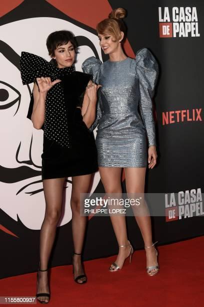 Spanish actress Ursula Corbero and Spanish actress Esther Acebo pose during a photocall for the presentation of Spanish TV show La Casa de Papel 3rd...