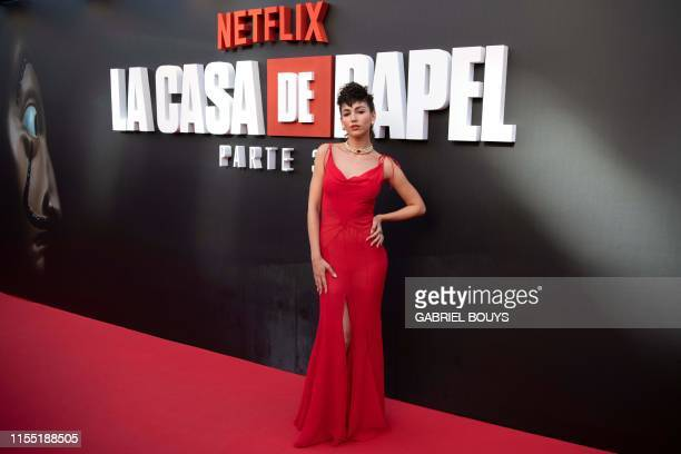 Spanish actress Ursula Corbero poses during a photocall for the presentation of the third season of the Spanish TV show La Casa de Papel in Madrid on...