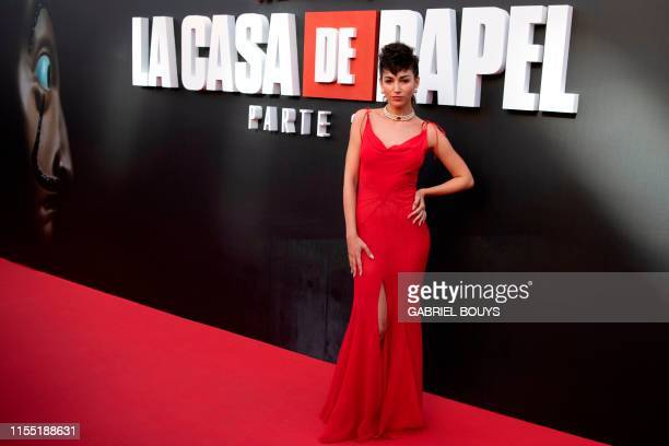 Spanish actress Ursula Corbero poses during a photocall for the presentation of Spanish TV show La Casa de Papel 3rd season on July 11 2019 in Madrid