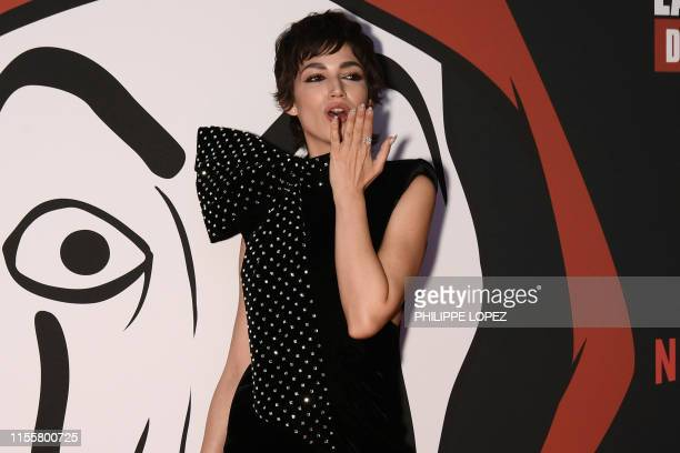 Spanish actress Ursula Corbero poses during a photocall for the presentation of Spanish TV show La Casa de Papel 3rd season on July 15 2019 in Paris