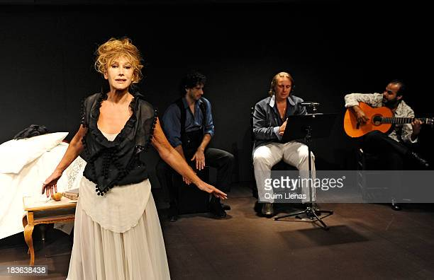 Spanish Actress Victoria Vera and a flamenco group perform during the press preview for the play 'Que trata de Espana' on stage at Fernan Gomez...