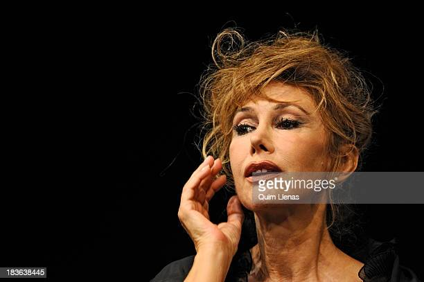 Spanish Actress Victoria Vera performs during the press preview for the play 'Que trata de Espana' on stage at Fernan Gomez Theatre on October 2 2013...