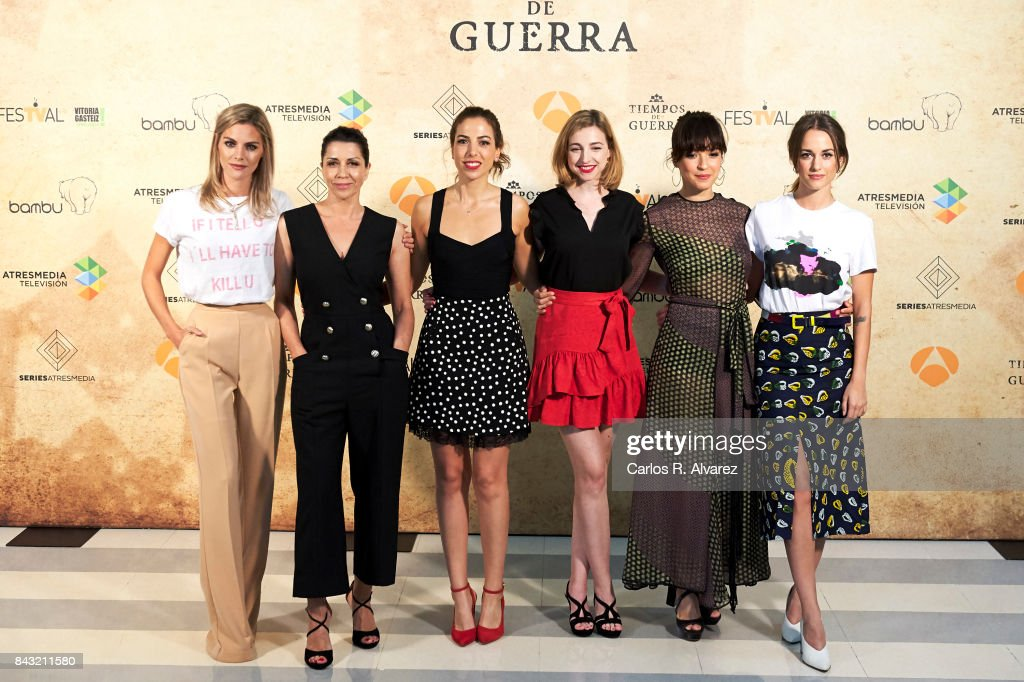 Spanish actresses Amaia Salamanca, Alicia Borrachero, Alicia Rubio, Anna Moliner, Veronica Sanchez and Silvia Alonso attend 'Tiempo de Guerra' photocall at the Palacio de Congresos during the FesTVal 2017 on September 6, 2017 in Vitoria-Gasteiz, Spain.