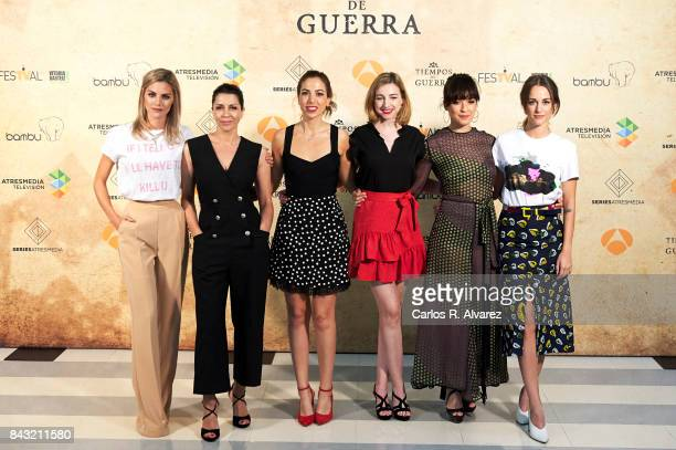 Spanish actresses Amaia Salamanca Alicia Borrachero Alicia Rubio Anna Moliner Veronica Sanchez and Silvia Alonso attend 'Tiempo de Guerra' photocall...