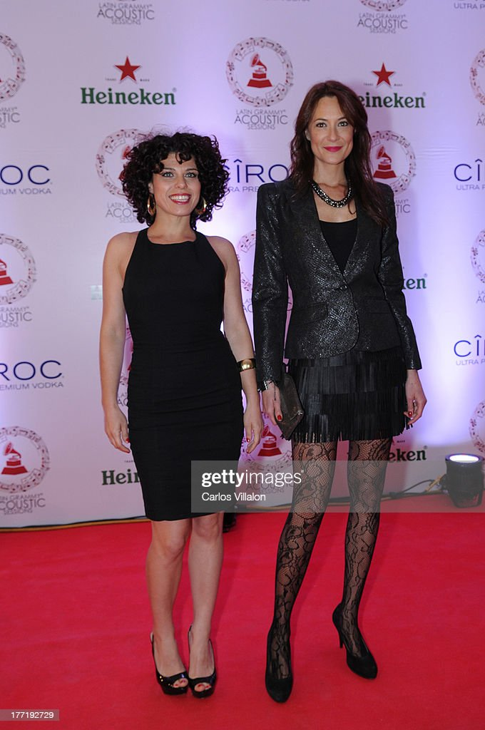 Spanish actresses Aroha Hafez and Sara Deray attend the Latin GRAMMY Acoustic Session at Country Club de Bogota on August 21, 2013 in Bogota, Colombia.