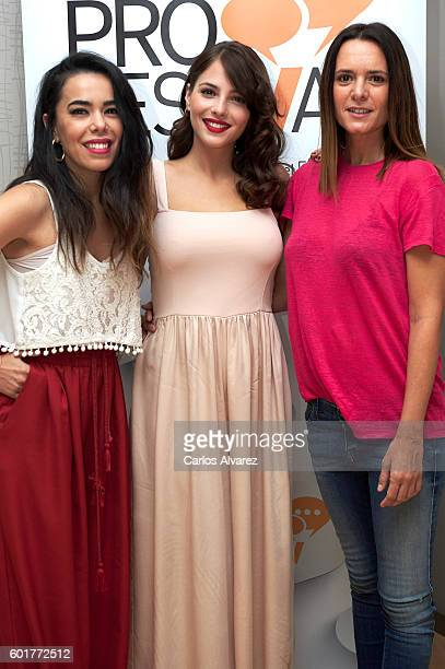 Spanish actresses Beatriz Luengo Andrea Duro and Eva Santolaria attend De Al Salir de Clase a Fisica o Quimica press conference at Palacio de...