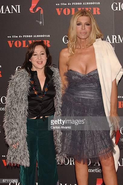 Spanish actresses Carmen Machi and Bibi Andersen attend the Spanish premiere for Volver at the Palacio de la Musica Cinema on March 16 2006 in Madrid...