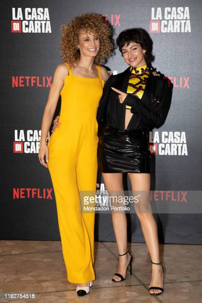 Spanish actresses Esther Acebo and Úrsula Corberó attend to the presentation of the third season of 'Money Heist' at the Palace of the Anteo Cinema...