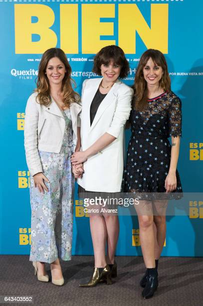 Spanish actresses Georgina Amoros Andrea Ros and Silvia Alonso attend 'Es Por Tu Bien' photocall at Hesperia Hotel on February 21 2017 in Madrid Spain