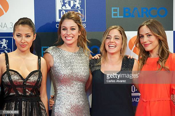 Spanish actresses Giselle Calderon Blanca Suarez Marina Salas and Irene Montala attend El Barco premiere at Capitol Cinema on September 5 2011 in...