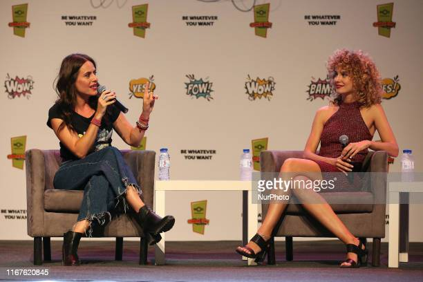 Spanish actresses Itziar Ituno and Esther Acebo speak during the Comic Con Portugal 2019 on the Day 1 in Lisbon Portugal on September 12 2019