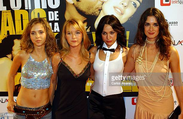 Spanish actresses Leticia Dolera Maria Estevez Natalia Verbeke and Paz Vega attend the premier of the film Al otro lado de la cama at Callao Cinema...