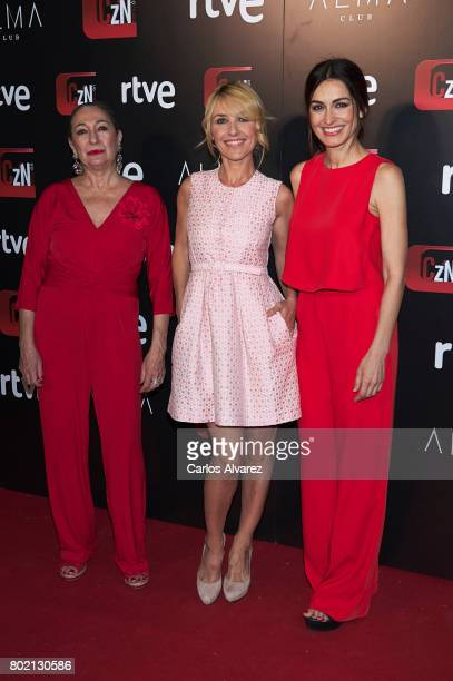 Spanish actresses Luisa Gavasa Cayetana Guillen Cuervo and Susana Cordoba attend 'Corazon' TV programme 20th Anniversary at the Alma club on June 27...