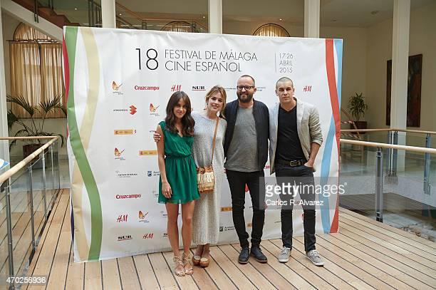 Spanish actresses Macarena Garcia Adriana Ugarte director Fernando Gonzalez Molina and actor Mario Casas attend Palmeras en la Nieve photocall during...
