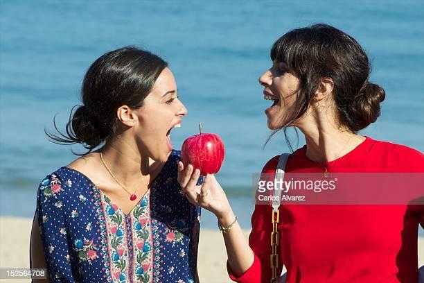 Spanish actresses Macarena Garcia and Maribel Verdu attend Blancanieves photocall at the Kursaal Palace during the 60th San Sebastian International...
