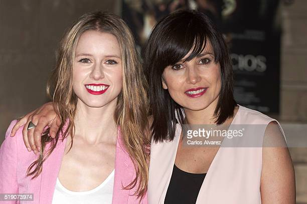Spanish actresses Manuela Velles and Marian Alvarez attend Lobos Sucios photocall at Princesa cinema on April 4 2016 in Madrid Spain