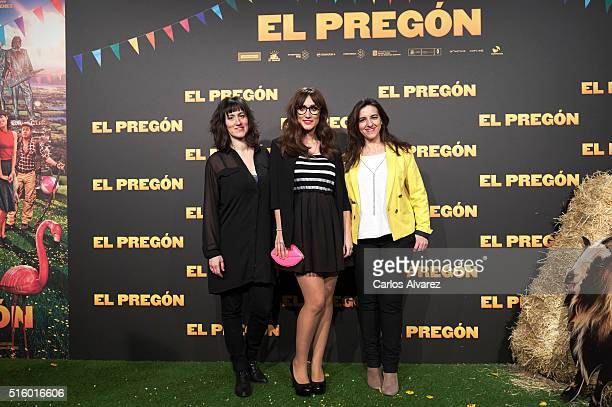 Spanish actresses Maria Juan Ana Morgade and Llum Barrera attend the El Pregon premiere at the Capitol cinema on March 16 2016 in Madrid Spain