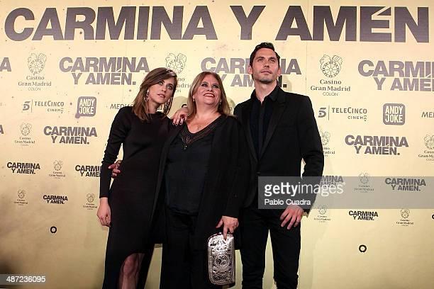 Spanish actresses Maria Leon Carmina Barrios and Spanish actor Paco Leon attend the 'Carmina y Amen' premiere at the Callao cinema on April 28 2014...